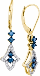 10K Yellow Gold 0.50 Ctw Diamond Fashion Dangle Earrings 2.52g - Earrings