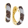10k Yellow Gold 0.65Ctw Diamond Fashion Hoop Earrings - Earrings