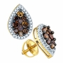 10k Yellow Gold 0.99Ctw Cognac Diamond Micro Pave Earrings - Earrings
