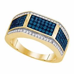 10k Yellow Gold 1.00Ctw Blue Diamond Fashion Mens Ring - Ring