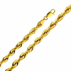 10K Yellow Gold 5mm Hollow Rope Chain Necklace with Lobster Clasp 22 Inch- Mens