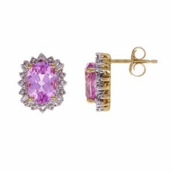 10K Yellow Gold Pink Topaz & Diamond Earrings (3.50 Ctw) - Earrings