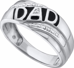 "10KT White Gold 0.005CTW ROUND DIAMOND MENS CLUSTER ""DAD"" RING - Rings"