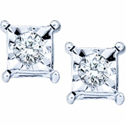 10KT White Gold 0.05CTW ROUND DIAMOND LADIES FASHION EARRINGS - Earrings