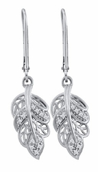 10KT White Gold 0.06CTW DIAMOND FASHION EARRINGS - Earrings