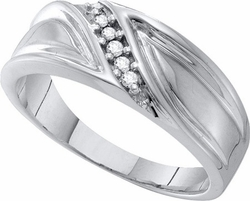 10KT White Gold 0.10CT DIAMOND FASHION MENS BAND - Rings