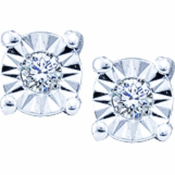 10KT White Gold 0.10CTW ROUND DIAMOND LADIES MICRO PAVE FASHION EARRINGS - Earrings