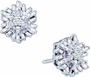 10KT White Gold 0.11CTW ROUND BAGGUETTE DIAMOND LADIES FASHION CLUSTER EARRINGS - Earrings