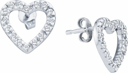 10KT White Gold 0.22CTW DIAMOND HEART EARRINGS - Earrings