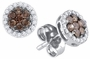 10KT White Gold 0.25CTW COGNAC DIAMOND FASHION  EARRINGS - Earrings