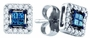 10KT White Gold 0.26CTW BLUE DIAMOND LADIES INVISIBLE EARRINGS - Earrings