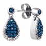 10KT White Gold 0.27CTW BLUE DIAMOND FASHION EARRINGS - Earrings
