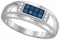 10KT White Gold 0.33CTW BLUE DIAMOND FASHION MENS RING - Rings