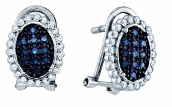 10KT White Gold 0.34CTW BLUE DIAMOND  MICRO PAVE EARRINGS - Earrings