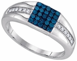 10KT White Gold 0.50CTW BLUE DIAMOND FASHION MENS RING - Rings