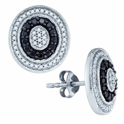 10KT White Gold 0.51CTW BLACK DIAMOND FASHION EARRINGS - Earrings