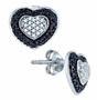 10KT White Gold 0.51CTW BLACK DIAMOND HEART EARRINGS - Earrings