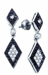 10KT White Gold 0.64CTW BLACK DIAMOND LADIES FASHION EARRINGS - Earrings