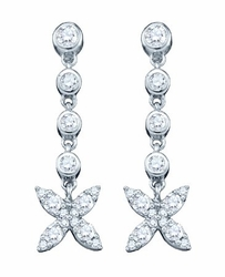 10KT White Gold 0.77CTW DIAMOND FASHION EARRINGS - Earrings