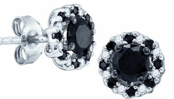 10KT White Gold 1.00CTW BLACK DIAMOND FASHION EARRINGS - Earrings