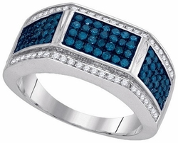 10KT White Gold 1.00CTW BLUE DIAMOND FASHION MENS RING - Rings