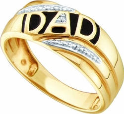 10KT Yellow Gold 0.005CTW DIAMOND MENS  DAD RING - Rings