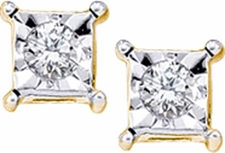 10KT Yellow Gold 0.05CTW DIAMOND LADIES FANOOK EARRINGS - Earrings