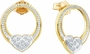 10KT Yellow Gold 0.08CTW DIAMOND LADIES HEART  EARRINGS - Earrings