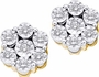 10KT Yellow Gold 0.08CTW ROUND DIAMOND LADIES FASHION FLOWER EARRINGS - Earrings