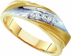 10KT Yellow Gold 0.10CTW DIAMOND MENS FASHION RING - Rings
