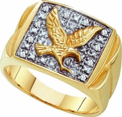 10KT Yellow Gold 0.10CTW MENS EAGLE DIAMOND RING - Rings
