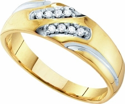 10KT Yellow Gold 0.12CTW DIAMOND  FASHION MENS BAND - Rings