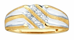 10KT Yellow Gold 0.14CTW DIAMOND MENS FASHION BAND - Rings