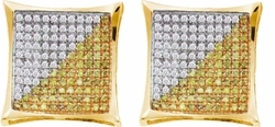 10KT Yellow Gold 0.15CTW DIAMOND MICRO PAVE EARRINGS - Earrings
