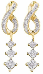 10KT Yellow Gold 0.15CTW ROUND DIAMOND LADIES CLUSTER FASHION EARRINGS - Earrings