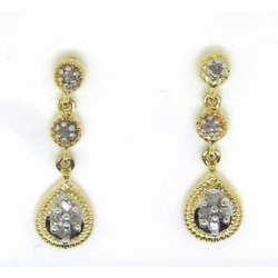 10KT Yellow Gold 0.15CTW ROUND DIAMOND LADIES FASHION EARRINGS - Earrings