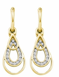 10KT Yellow Gold 0.18CTW DIAMOND FASHION EARRINGS - Earrings