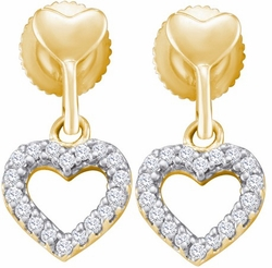 10KT Yellow Gold 0.20CTW ROUND DIAMOND FASHION EARRINGS(HE) - Earrings