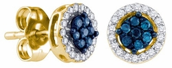 10KT Yellow Gold 0.25CTW BLUE DIAMOND FASHION EARRINGS - Earrings