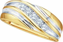 10KT Yellow Gold 0.25CTW DIAMOND FASHION MENS BAND - Rings