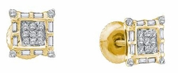 10KT Yellow Gold 0.25CTW ROUND BAGGUETTE DIAMOND LADIES MICRO PAVE EARRINGS - Earrings