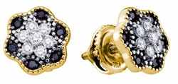 10KT Yellow Gold 0.29CTW BLACK DIAMOND MICRO-PAVE EARRINGS - Earrings