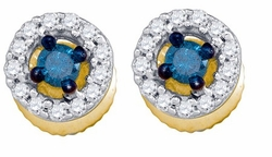 10KT Yellow Gold 0.29CTW BLUE DIAMOND MICRO-PAVE EARRINGS - Earrings