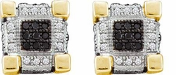 10KT Yellow Gold 0.29CTW DIAMOND  MICRO PAVE EARRINGS - Earrings
