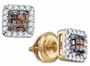 10KT Yellow Gold 0.30CTW COGNAC DIAMOND INVISIBLE EARRINGS - Earrings