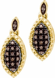 10KT Yellow Gold 0.30CTW  COGNAC DIAMOND LADIES FASHION EARRINGS - Earrings