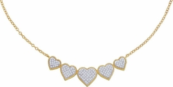 10KT Yellow Gold 0.35CTW DIAMOND HEART NECKLACE