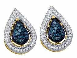 10KT Yellow Gold 0.40CTW BLUE DIAMOND FASHION EARRINGS - Earrings
