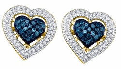 10KT Yellow Gold 0.40CTW BLUE DIAMOND HEART EARRINGS - Earrings