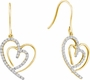10KT Yellow Gold 0.40CTW DIAMOND HEART EARRINGS - Earrings
